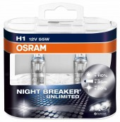 Автолампа OSRAM 64150 Night Breaker Unlimited +110% (H1, 12V, 55W) Duo Box - комплект 2 шт.